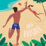 El individuo y la muchacha se lanzan disco de vuelo en el mar libre illustration