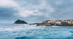 El Infierno, Garachico, Tenerife, Espania - October 28, 2018: View of El Infierno across the Atlantic Ocean towards the town of royalty free stock photo