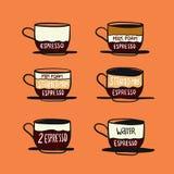 El infographics del menú del café, fijó los elementos para crear su propio infographic Ejemplo del vector del dibujo de la mano ilustración del vector