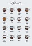 El infographics del menú del café en papel cortó estilo Foto de archivo