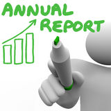 El informe anual redacta el estado financiero de la carta Foto de archivo