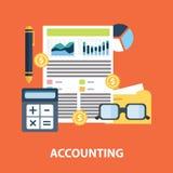 El informe del plan empresarial y el concepto de contabilidad financieros acertados vector el ejemplo Fotografía de archivo libre de regalías