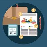 El informe del plan empresarial y el concepto de contabilidad financieros acertados vector el ejemplo Imagen de archivo