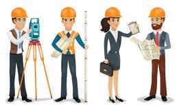 El ingeniero civil, el topógrafo, el arquitecto y los trabajadores de construcción aislaron vector stock de ilustración