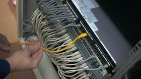 El ingeniero de las TIC enchufa el cable de Ethernet almacen de metraje de vídeo