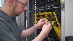 El ingeniero de las TIC enchufa el cable de Ethernet almacen de video