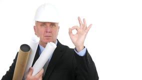 El ingeniero serio en una reunión con proyectos a disposición hace la muestra ACEPTABLE de la mano almacen de video