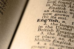 El inglés de la palabra Foto de archivo libre de regalías