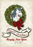 El inglés feliz de la Navidad del caballo desea la tarjeta Fotos de archivo