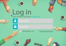 El inicio de sesión firma para arriba concepto de la página de la cuenta del registro fotos de archivo libres de regalías