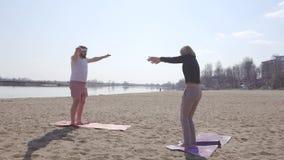 El instructor dinámico de sexo femenino caucásico de la yoga enseña a un hombre lleno con una barba, clases de la yoga en la natu almacen de video