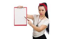 El instructor femenino atractivo de la aptitud aislado en blanco foto de archivo