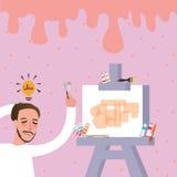 El intento de la pintura del artista para encontrar las ideas para su arte engrasa en lona stock de ilustración