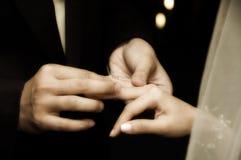 El intercambiar de anillos Imágenes de archivo libres de regalías