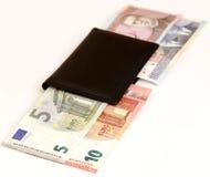 el intercambio euro del cambio de Lits de los litas Lituania 2015 acuña los billetes de banco enero Imagen de archivo libre de regalías