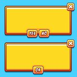 El interfaz amarillo del juego artesona los botones del ui Foto de archivo libre de regalías