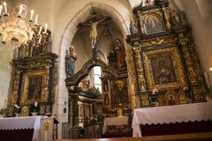 El interior adornado de la iglesia de St Giles en Kraków Polonia Imagenes de archivo