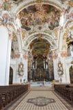 El interior de la abadía de Einsiedeln en Suiza Foto de archivo