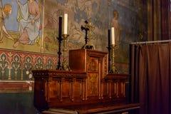 El interior de la catedral París de Notre-Dame Fotos de archivo