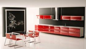 El interior de la cocina moderna 3d rinde stock de ilustración