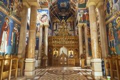 El interior de la iglesia ortodoxa rumana de la natividad en Jericó Foto de archivo