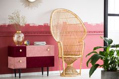 El interior de la sala de estar con Borgoña coloreó acentos y la silla de mimbre del pavo real foto de archivo