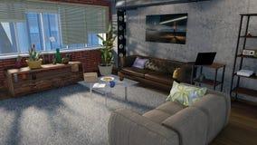 El interior de la sala de estar en el apartamento 3D del desván rinde stock de ilustración