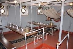 El interior del crucero militar ruso viejo Imagen de archivo libre de regalías
