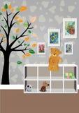 El interior del cuarto del ` s de los niños con los muebles, juguetes, dibujos del ` s de los niños Ejemplo de un cuarto del ` s  Imágenes de archivo libres de regalías
