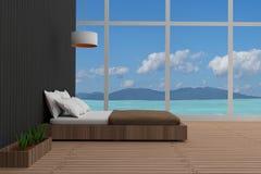 El interior del dormitorio en seaview en 3D rinde imagen stock de ilustración