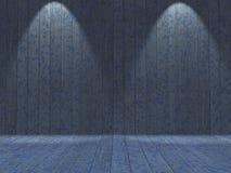 el interior del grunge 3D con el azul de madera pintó las paredes y el piso Fotografía de archivo libre de regalías
