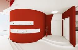 El interior del hall de entrada blanco rojo 3d rinde stock de ilustración