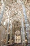 El interior del monasterio de Jeronimos, Lisboa, Portugal Fotos de archivo libres de regalías