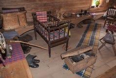 El interior del museo de la arquitectura de madera Vitoslavlitsy Foto de archivo libre de regalías