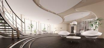El interior del panorama moderno 3d de la casa rinde Fotografía de archivo libre de regalías