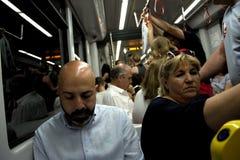 El interior del tren subterráneo en Sevilla 3 imagenes de archivo