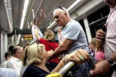 El interior del tren subterráneo en Sevilla 4 imágenes de archivo libres de regalías