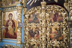 El interior el templo del icono de Don de la madre de dios Fotografía de archivo