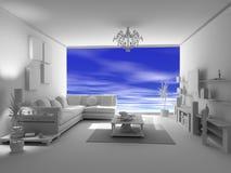 El interior en blanco abierto