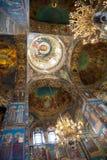 El interior, iglesia derramó la sangre, St Petersburg, Rusia Fotos de archivo