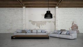 El interior industrial 3d rinde imágenes Foto de archivo libre de regalías