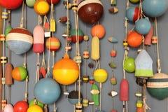 El interior interesante en la pared como la pesca flota Imágenes de archivo libres de regalías