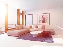 El interior ligero brillante del salón se bañó en sol libre illustration