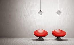 El interior moderno con las butacas 3d rinde Imagenes de archivo