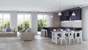 El interior moderno de la casa con una cocina púrpura oscura
