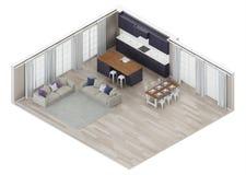 El interior moderno de la casa con una cocina púrpura oscura ilustración del vector