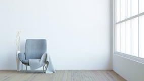 El interior moderno de la sala de estar con la butaca oscura, el terciopelo y el florero/3d rinden imagen Imagen de archivo libre de regalías