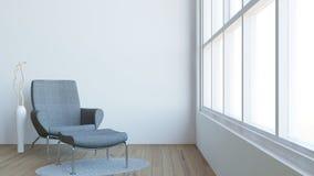 El interior moderno de la sala de estar con la decoración oscura/3d de la butaca y del florero rinde imagen Fotos de archivo libres de regalías