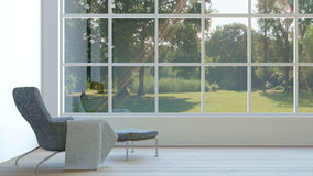 El interior moderno de la sala de estar con la opinión/3d del bosque rinde imagen Imágenes de archivo libres de regalías