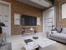 El interior moderno de la sala de estar, TV montó en la pared de ladrillo con la pantalla negra libre illustration